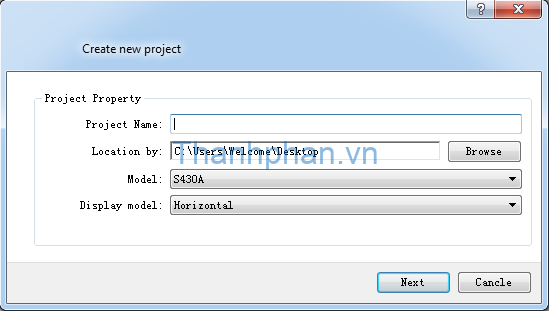 Màn hình YKHMI: tạo dự án mới