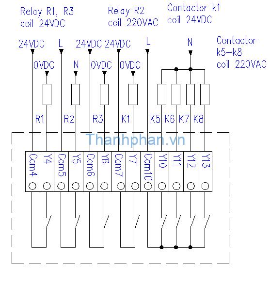 Bản vẽ điện ngõ ra relay MM-20MR-6MT-450-FX-F