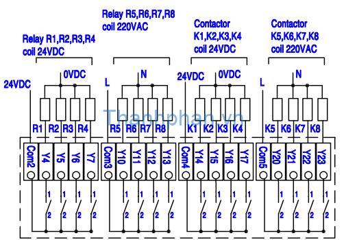 bản vẽ điện ngõ ra relay MM-40MR-12MT-700-FX-C