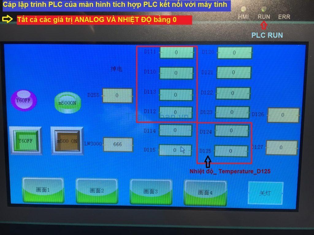 Tất cả các giá trị ANALOG và NHIỆT ĐỘ bằng 0 khi cáp lập trình PLC của màn hình tích hợp PLC kết nối với máy tính Màn hình MM-40MR-12MT-700-FX-C