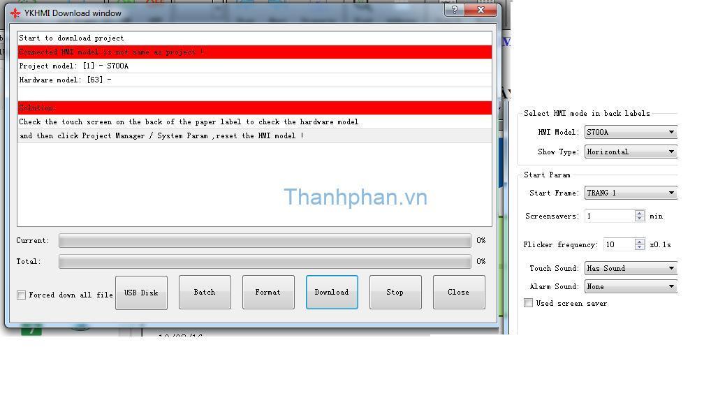 màn hình YKHMI không download được