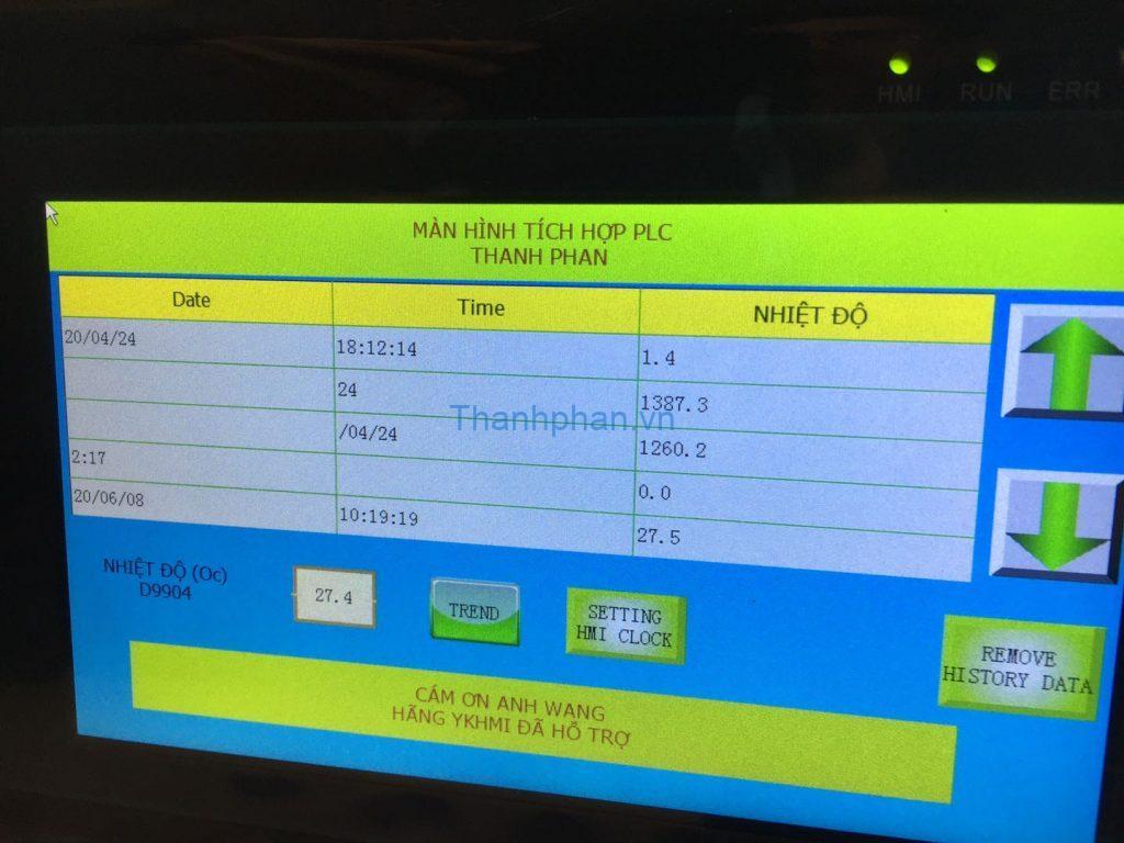 History data hiển thị khi Download chương trình màn hình vào HMI