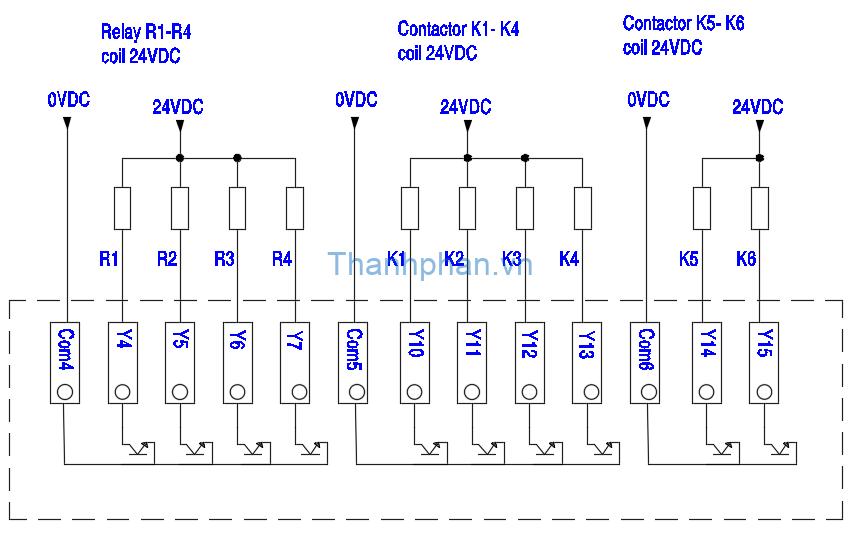 Mạch kết nối ngõ ra transistor