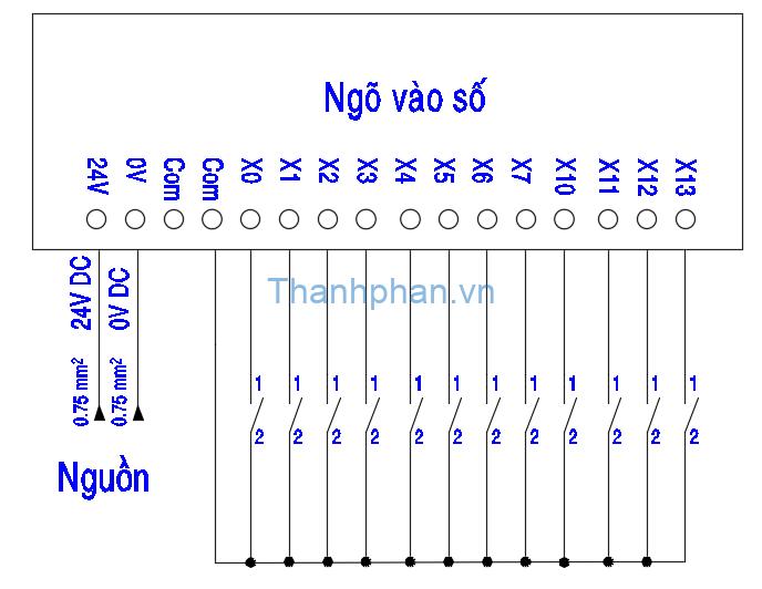 Bản vẽ điện ngõ vào NPN kết nối COM