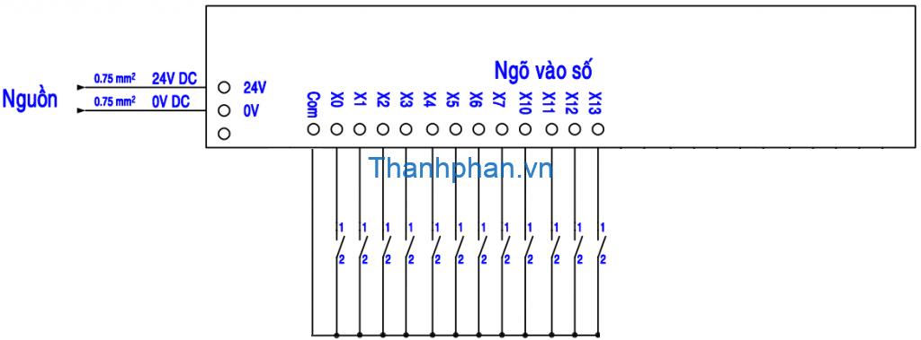 Mạch điện kết nối ngõ vào NPN với cổng com