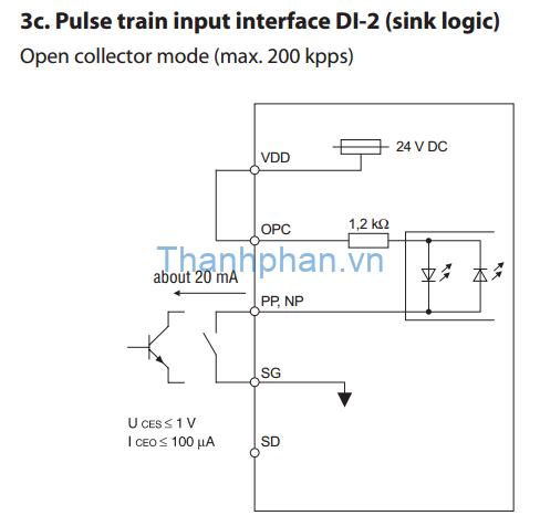 Kết nối bộ điều khiển cổng cực thu hở loại sink với MR-J2S-A