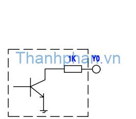 sơ đồ ngõ ra transistor cổng cực thu hở loại sink của thiết bị YKHMI
